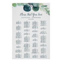 Lush Greenery Alphabetical Seating Chart