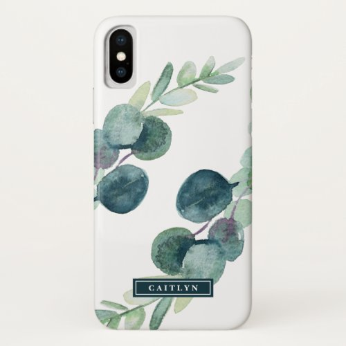 Lush Greenery and Eucalyptus Personalized Name Phone Case