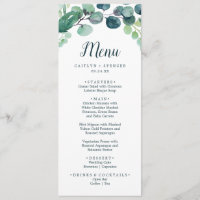 Lush Greenery and Eucalyptus Wedding Dinner Menu