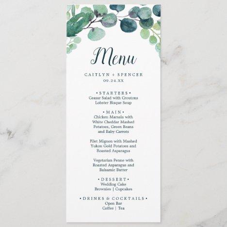Lush Greenery and Eucalyptus Wedding Dinner Menu
