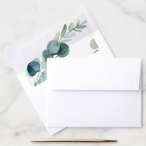 Lush Greenery and Eucalyptus Wedding Envelope Liner