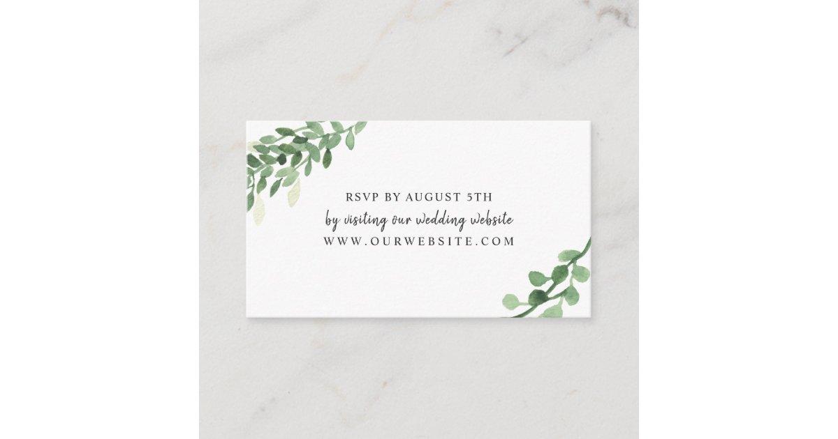 lush greenery wedding rsvp online card