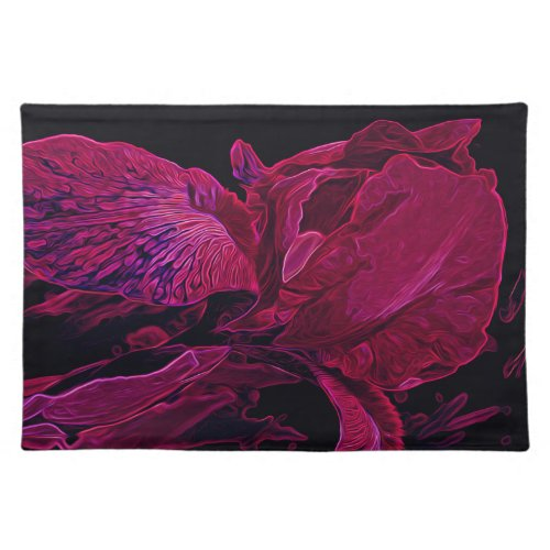 Lush Iris Deep Red Glow Cloth Placemat