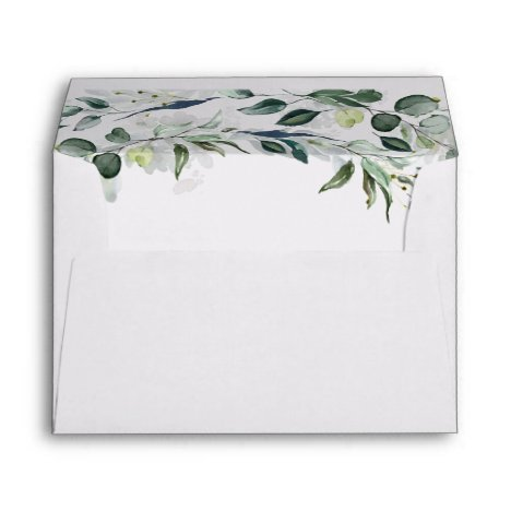 Lush Leafy Greenery and Eucalyptus Watercolor Chic Envelope