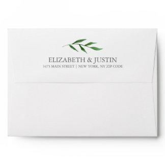 Lush Leaves Elegant Watercolor Envelope w. Return