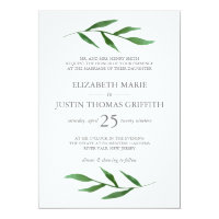 Lush Leaves Elegant Watercolor Wedding Invitation