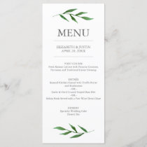 Lush Leaves Elegant Watercolor Wedding Menu