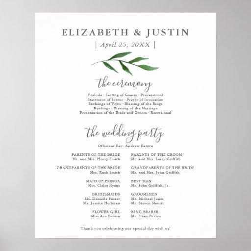 Lush Leaves Elegant Wedding Ceremony Program Sign