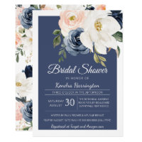 Lush Magnolia Rose Navy Blue & Blush Bridal Shower Invitation