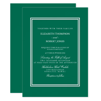 Lush Meadow Green with White Wedding Detail Card