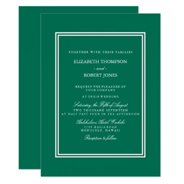 Beach Themed Lush Meadow Green with White Wedding Detail Card