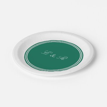 Aztec Themed Lush Meadow Green with White Wedding Detail Paper Plate