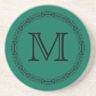 Lush Meadow Rich Green Modern Solid Color Monogram Sandstone Coaster