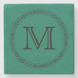 Lush Meadow Rich Green Modern Solid Color Monogram Stone Coaster