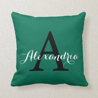 Lush Meadow Rich Green Solid Color Modern Monogram Throw Pillow