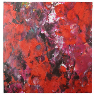 Lush modern red abstract flower field painting printed napkin