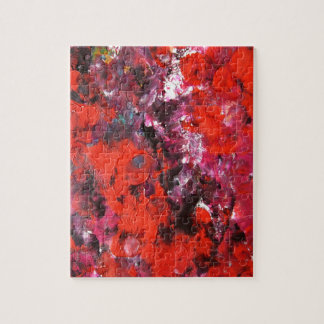 Lush modern red abstract flower field painting jigsaw puzzle