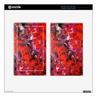 Lush modern red abstract flower field painting skins for kindle fire