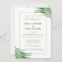 Lush Modern Tropical Greenery Wedding Invitation