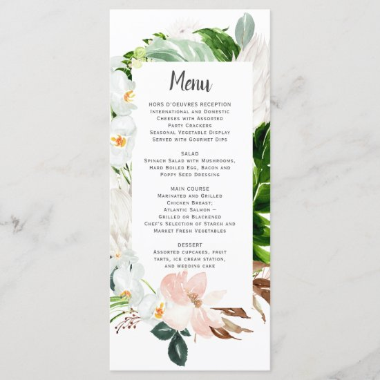 Lush Paradise Tropical Floral Wedding Menu