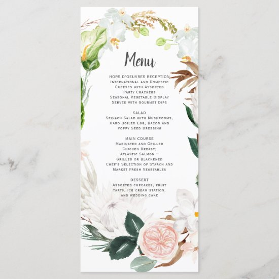 Lush Paradise White Blush Tropical Wreath Wedding Menu