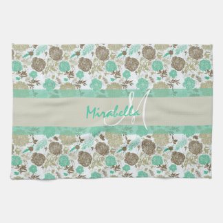 Lush pastel mint green, beige roses on white name hand towel