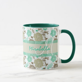 Lush pastel mint green, beige roses on white name mug