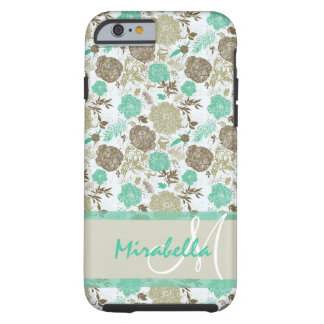 Lush pastel mint green, beige roses on white name tough iPhone 6 case