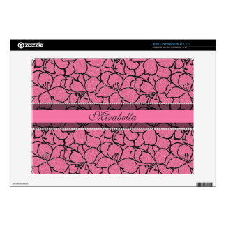 Lush Pink Lilies with black outline, pink glitter Acer Chromebook Decal