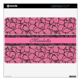Lush Pink Lilies with black outline, pink glitter Decal For The MacBook