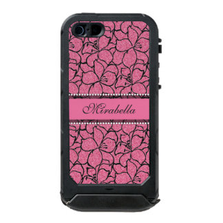 Lush Pink Lilies with black outline, pink glitter Waterproof Case For iPhone SE/5/5s