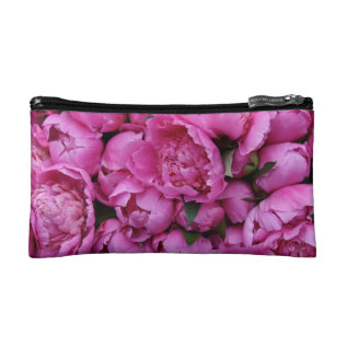 Lush Pink Peony Flowers Makeup Bag at Zazzle