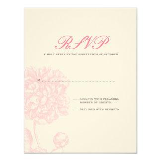 Lush Pink Peony Wedding RSVP Card
