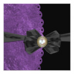 Lush Purple Scallop with Bow  Wedding Invitations