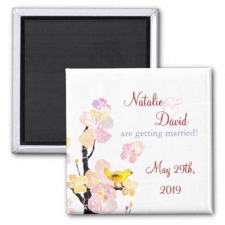 Lush Spring Floral Bird Wedding Save the Date Magnet