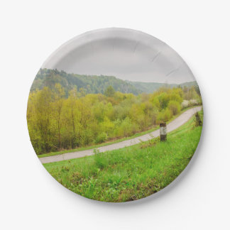 Lush Spring Landscape, Hills In Ojcow, Poland Paper Plate