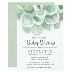 Lush Succulent Boy Baby Shower Invitation