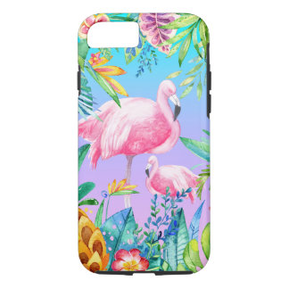 Lush Tropical Flowers Pink Flamingos iPhone 7 Case