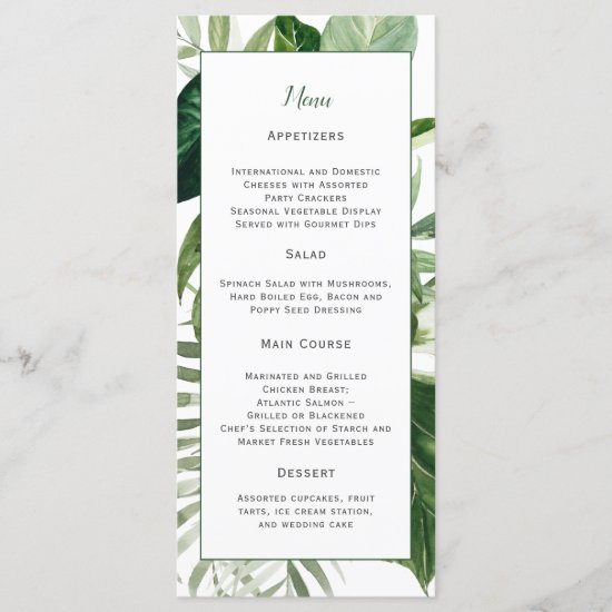 Lush Tropical Greenery Wedding Menu