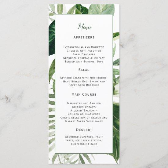 Lush Tropical Greenery Wedding Menu