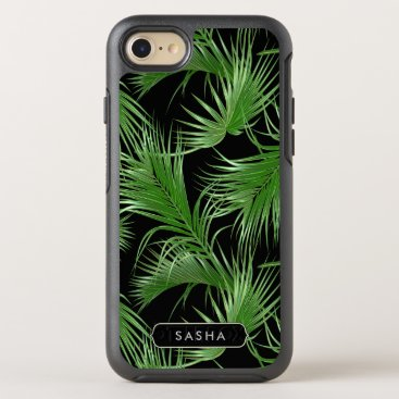 Beach Themed Lush Tropical Palm Pattern with Name or Monogram OtterBox Symmetry iPhone 7 Case