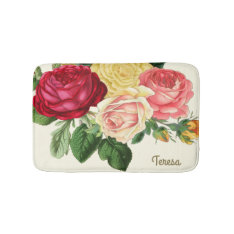 Lush Vintage Floral Id225 Bathroom Mat at Zazzle