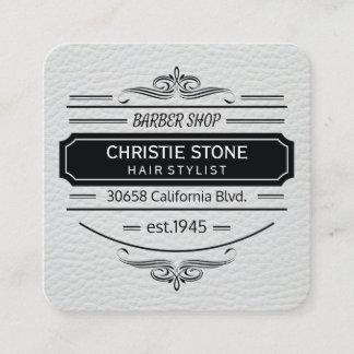 Lush White Leather Print Retro Label Barber Square Business Card