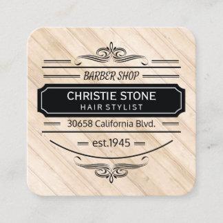 Lush White Leather Wood Trim Retro Label Barber Square Business Card