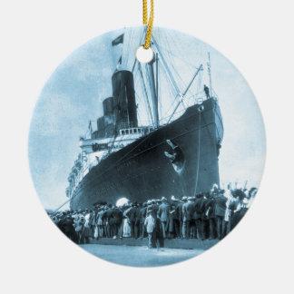 Lusitania Arrives in New York Vintage Ceramic Ornament