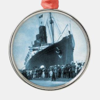 Lusitania Arrives in New York Vintage Metal Ornament