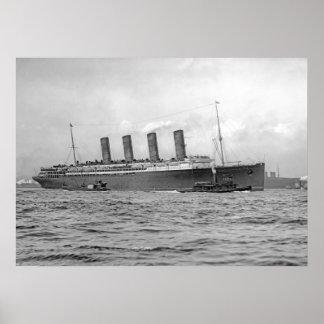 Lusitania Departs New York Poster