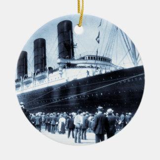 Lusitania Docked in New York City Blue Tone Ceramic Ornament