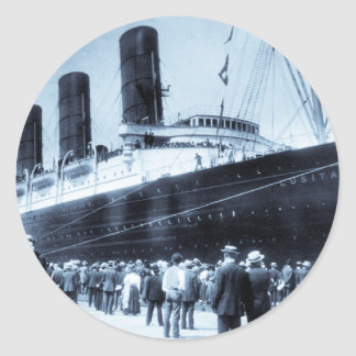 Lusitania Docked in New York City Blue Tone Classic Round Sticker