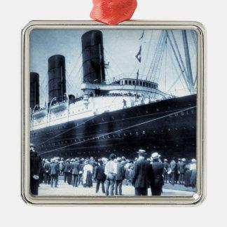 Lusitania Docked in New York City Blue Tone Metal Ornament